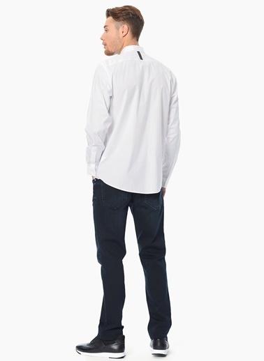 Que Baskılı Slim Fit Uzun Kollu Gömlek Beyaz